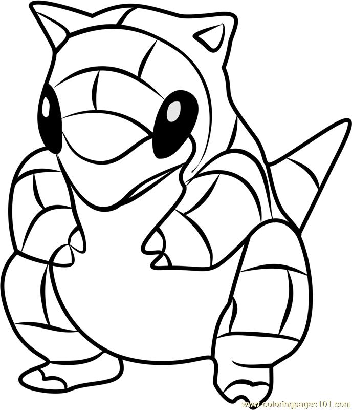 688x800 Sandshrew Pokemon Go Coloring Page