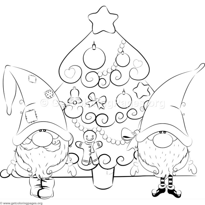 700x700 Cartoon Christmas Tree With Santa Claus And Elf Coloring Pages