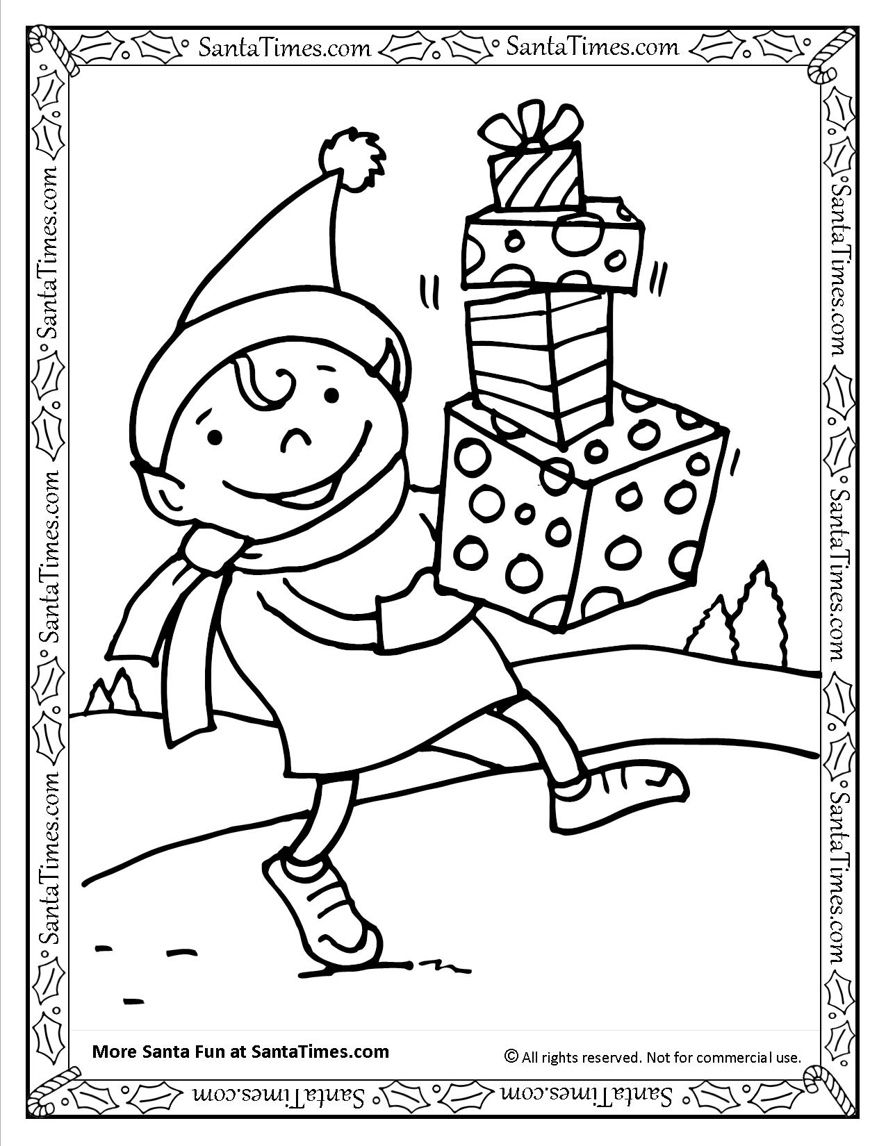 1275x1650 Santa's Elf Printable Coloring Page