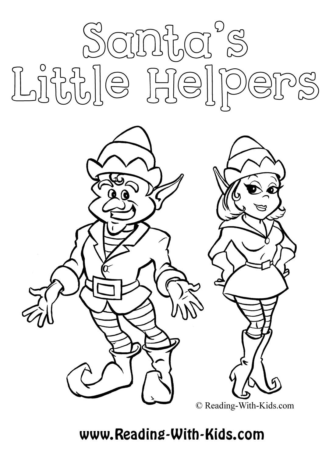 1080x1485 Santa's Little Helpers Elf Coloring Sheet
