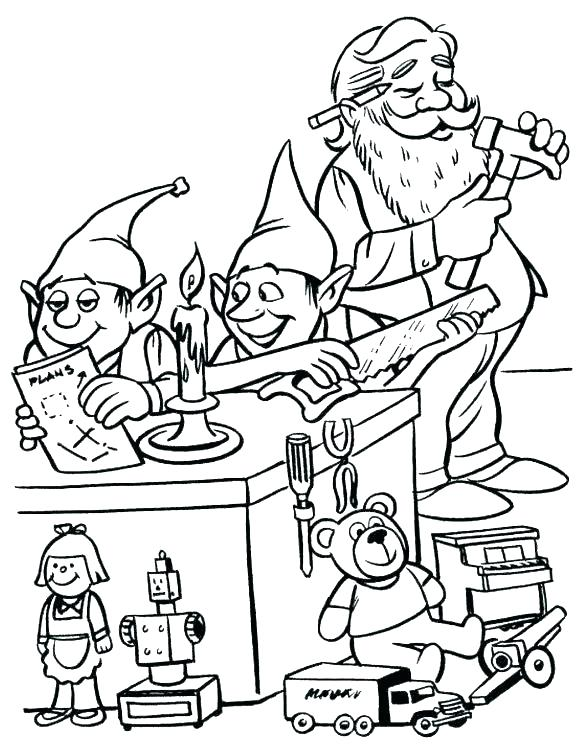 580x753 Santa And Elves Coloring Pages Page E More Workshop Colo Fuhrer