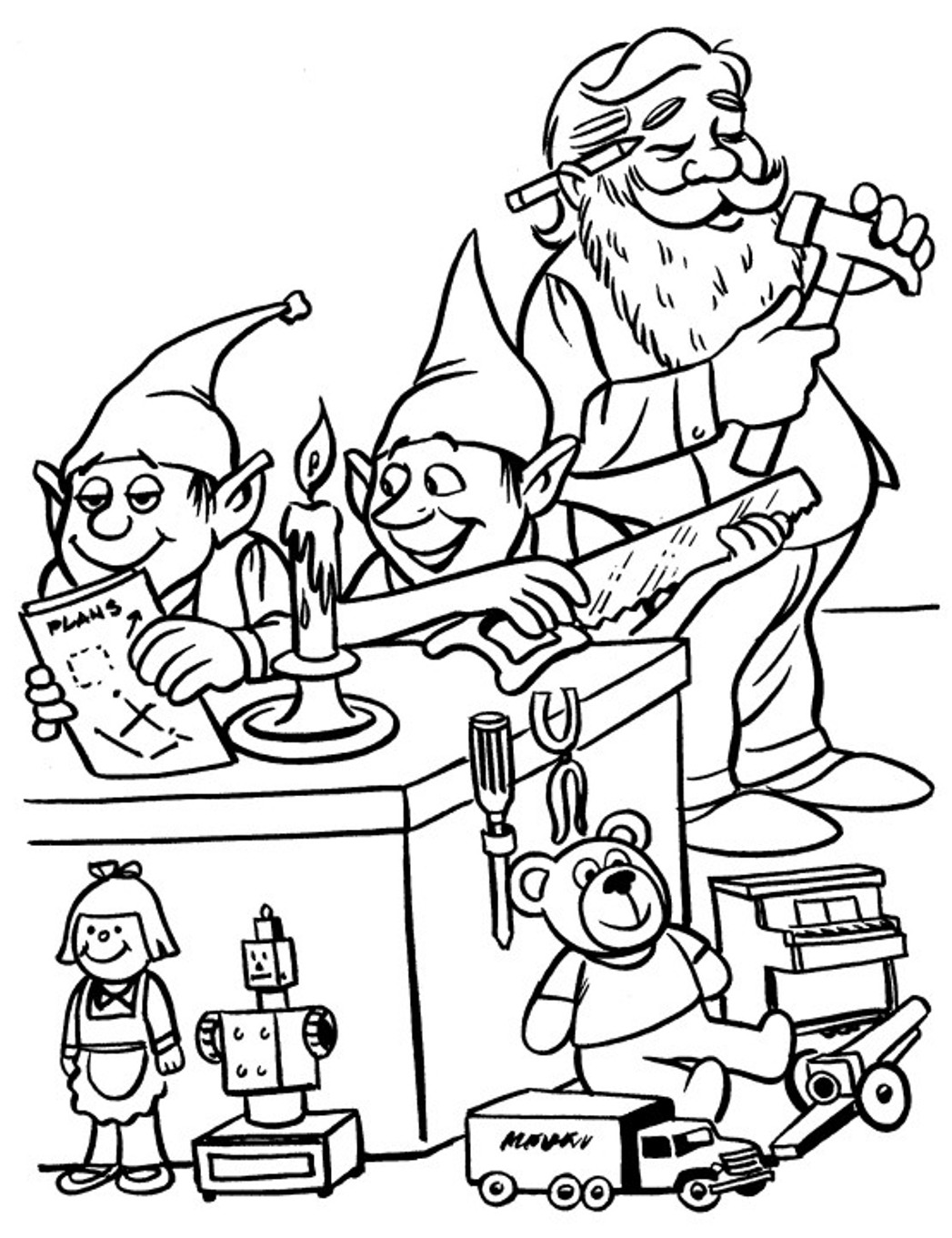 1047x1361 Santa And His Elves Coloring Pages
