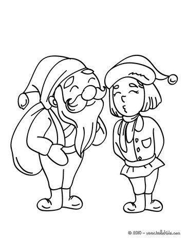 364x470 Santa With Elf Coloring Pages