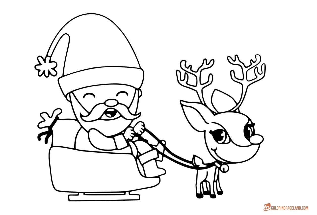 Santa And His Reindeer Coloring Pages At Getdrawings Com