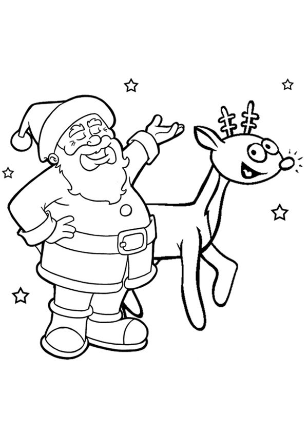 600x850 Free Online Santa Rudolph Colouring Page