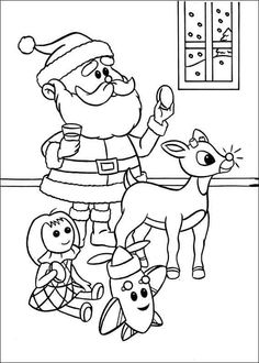 236x330 Printable Merry Christmas Santa And Rudolph Coloring Page