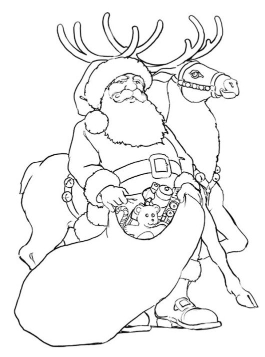 530x713 Rudolph And His Dad Donner Reindeer Coloring Page