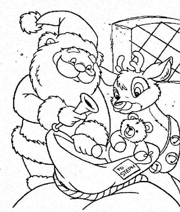 600x704 Santa Claus And Rudolph Picking Christmas Present For Kids