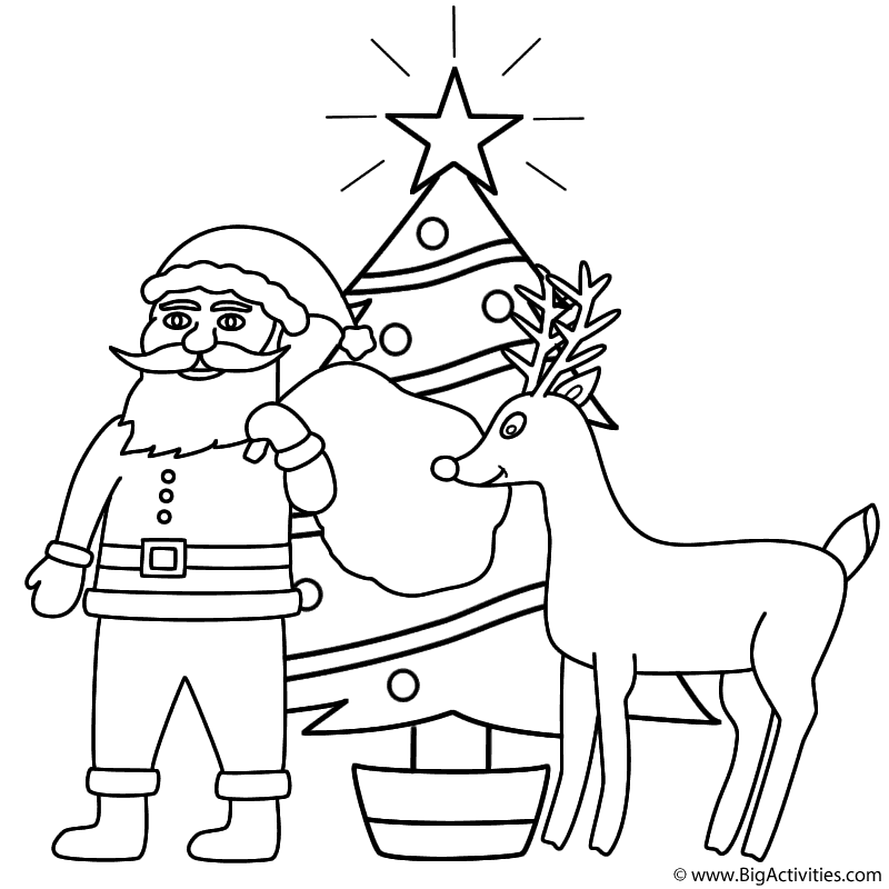 800x800 Santa Claus With Rudolph And Christmas Tree