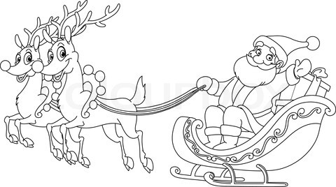 480x268 Santa Claus Sleigh Coloring Pages