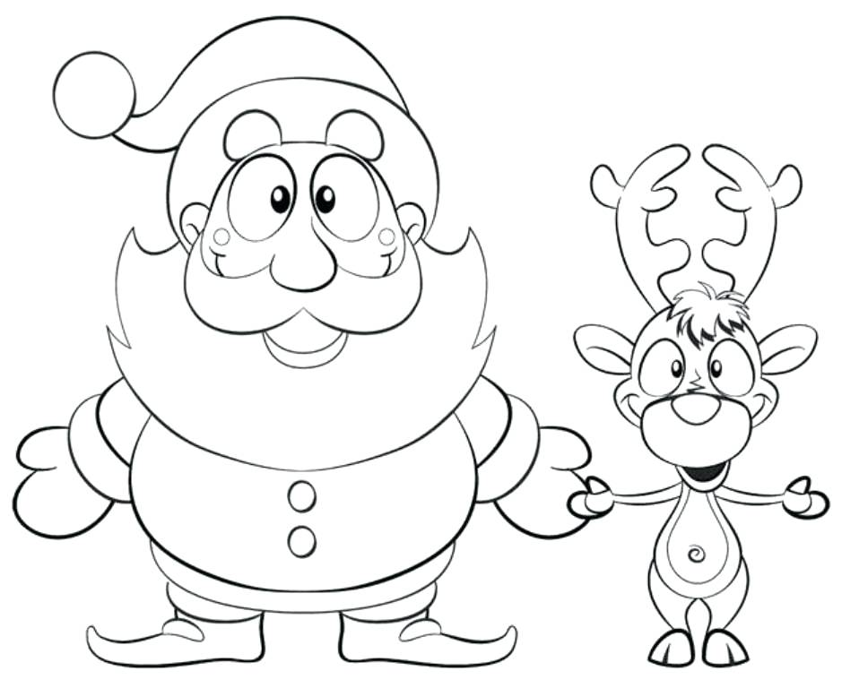 958x768 Santa Color Pages Coloring Picture Of And Reindeer Reindeer