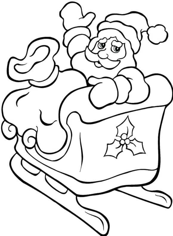 580x790 Santa And Sleigh Coloring Pages Printable Deepart