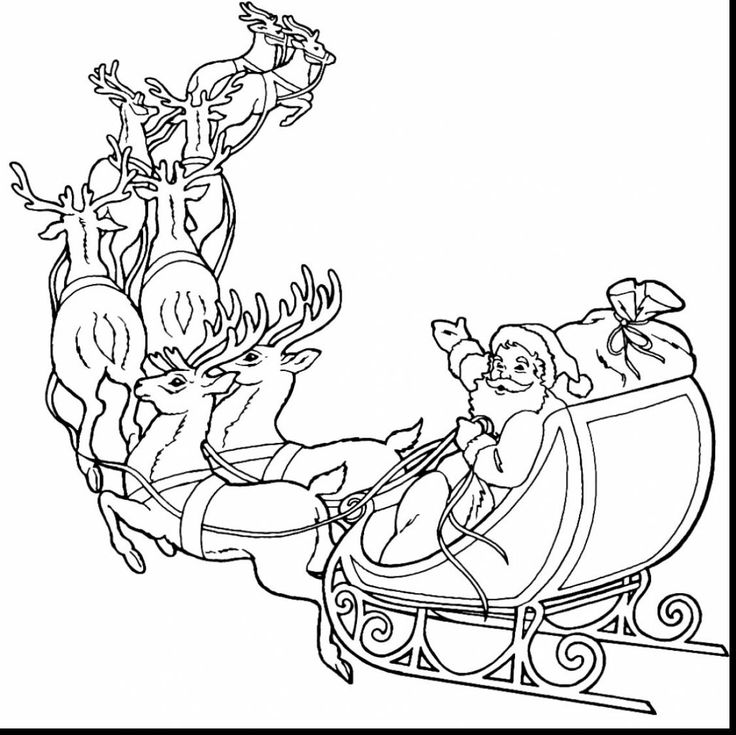 Santa Claus And Reindeer Coloring Pages