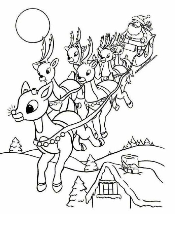 600x776 Rudolph And Santa Leigh Reindeers Coloring Page Holiday