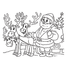 Santa Claus And Reindeer Coloring Pages At Getdrawings Com Free