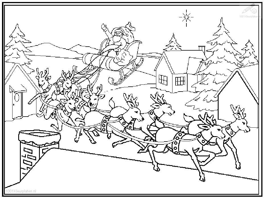 931x700 Santa In Sleigh Coloring Pages Download And Print For Free
