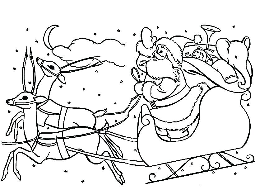 820x610 Coloring Pages Of Santa Claus And Reindeer Professional