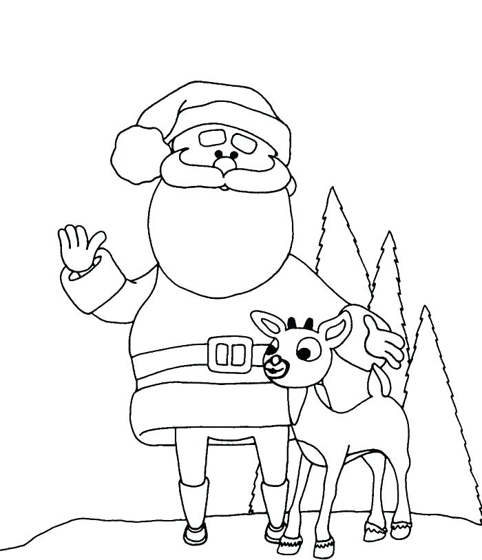 700x813 Santa And Reindeer Coloring Pages