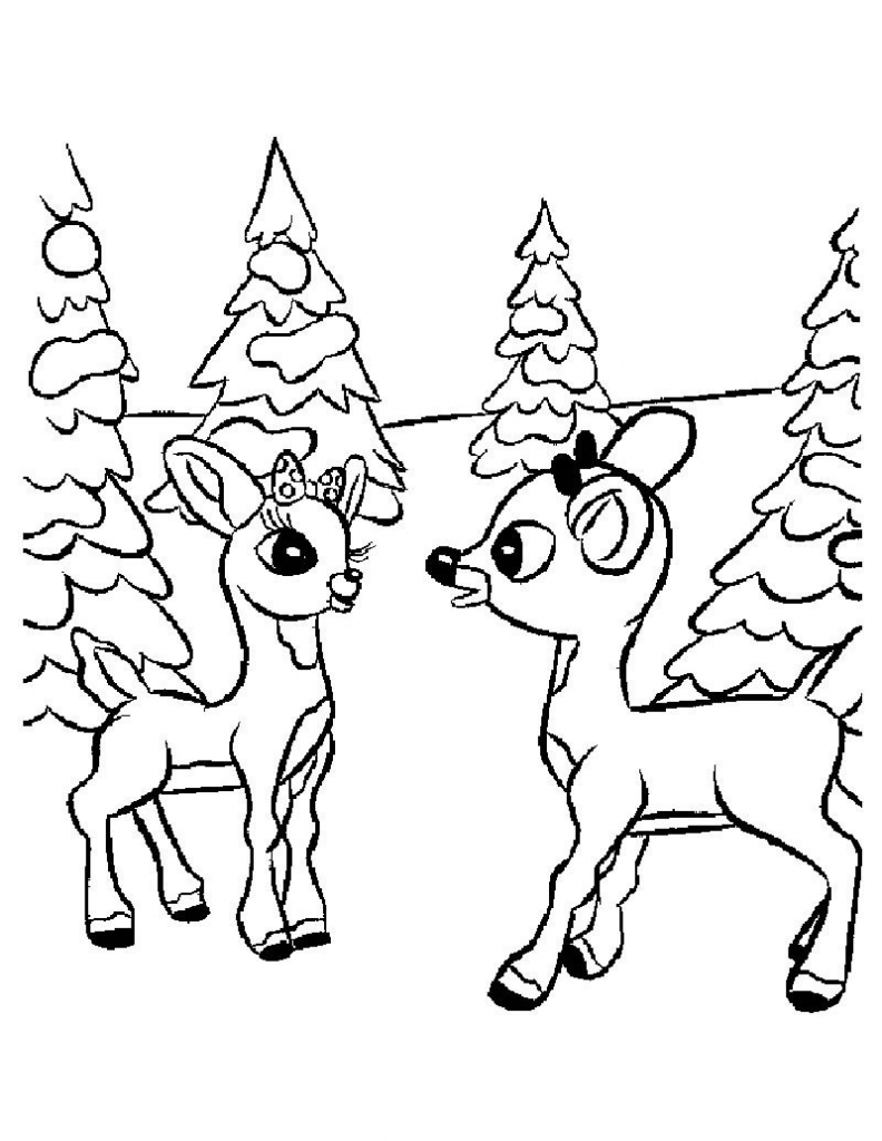 792x1024 Emerging Rudolph The Red Nosed Reindeer Coloring Page And Santa