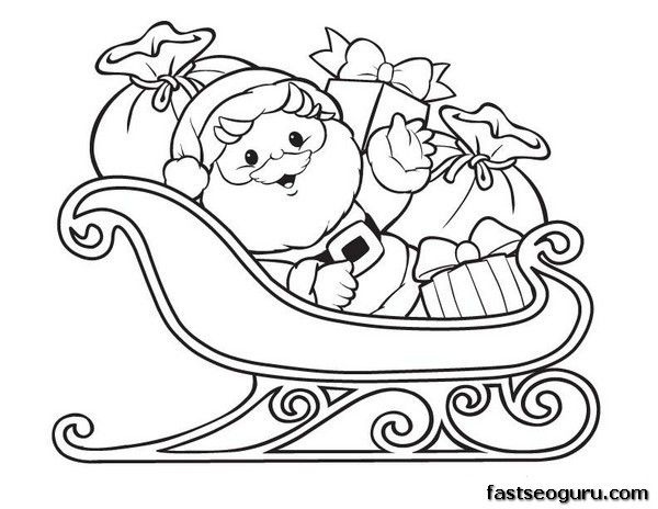 600x464 Santa Claus Sleigh Coloring Pages Santa Claus With Sleigh