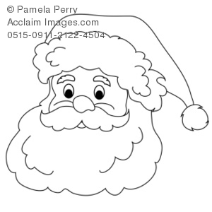 300x300 Clip Art Illustration Of A Santa Claus Face Coloring Page