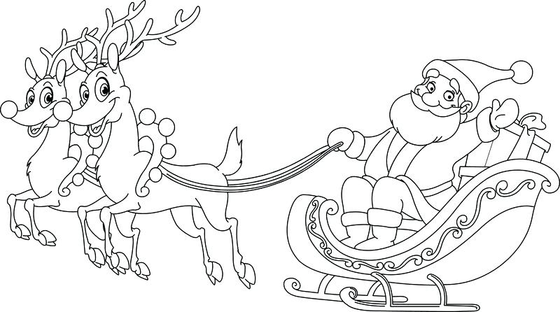800x446 Santa Sleigh Coloring Page Sleigh Coloring Page In A Sleigh