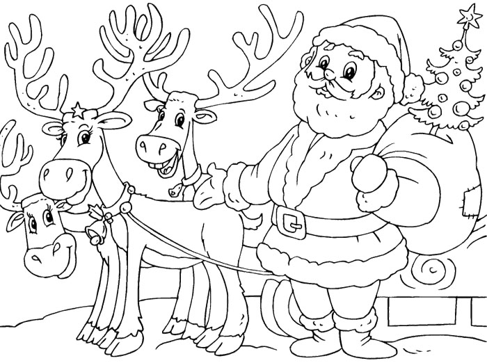 700x522 Santa And Reindeer Coloring Page Pages To Color