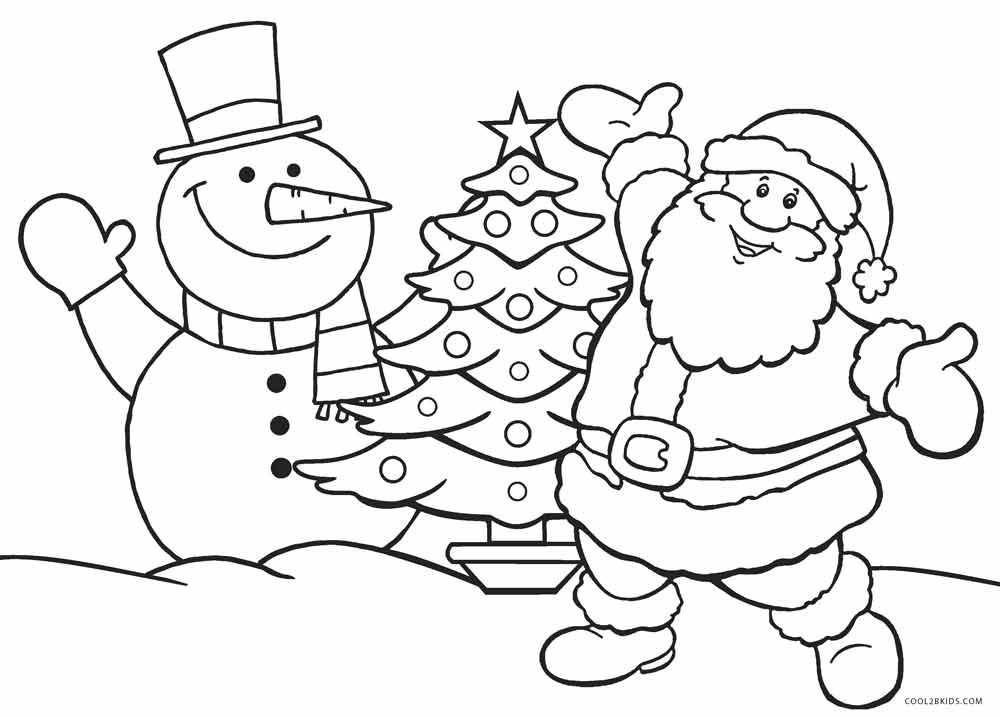 1000x717 Santa Coloring Pages Printable Free