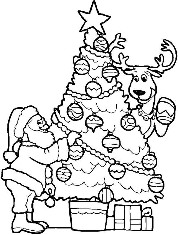 600x790 Christmas Tree And Santa Coloring Page