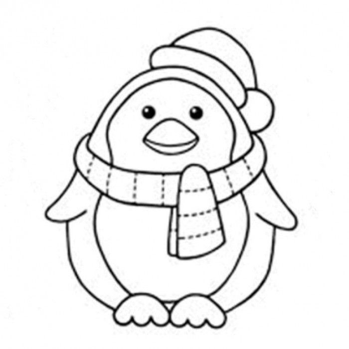700x700 Penguin On Ice Wearing A Santa Hat Coloring Page For Kids