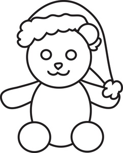 242x300 Printable Santa Hat Coloring Pages For Kids Holiday