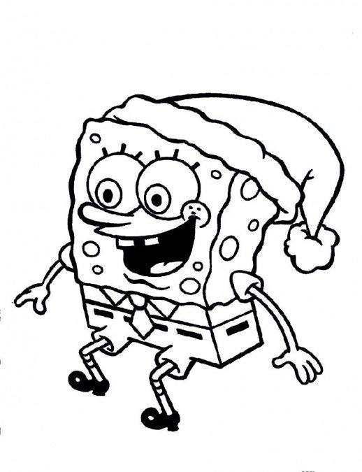 518x675 Spongebob Santa Coloring Pages Spongebob Wearing Santa Hat
