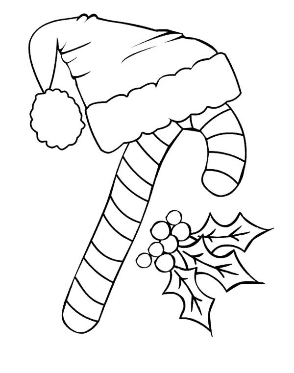 600x761 Candy Cane And Santa Claus Hat Coloring Page