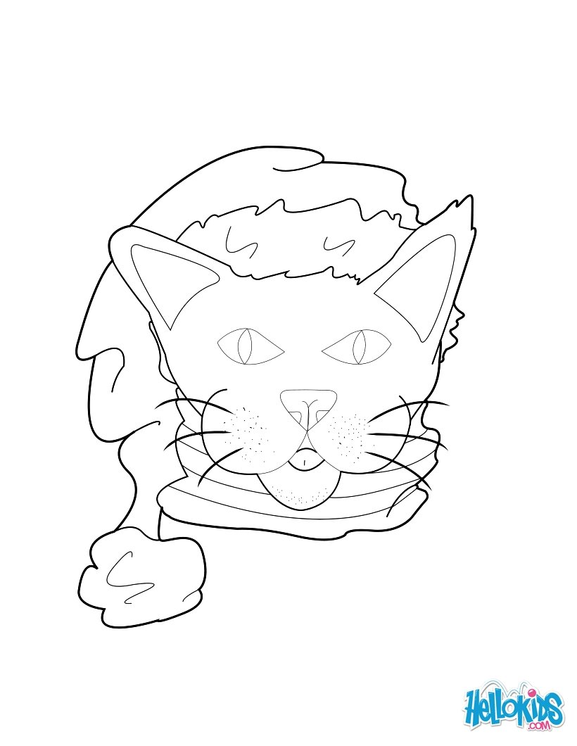 820x1060 Cat With Santa Hat Coloring Pages
