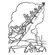 Santa Sleigh Coloring Page