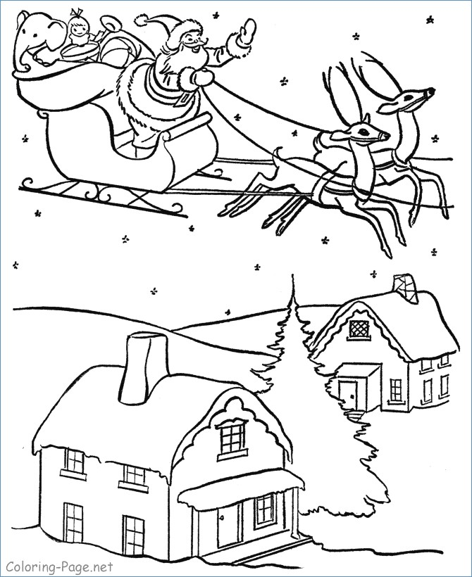 670x820 Rudolph And Santa Leigh Reindeers Coloring Page