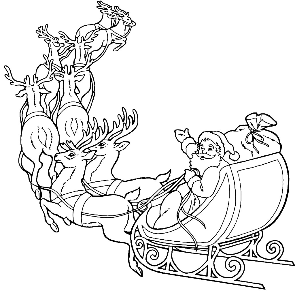 1024x1023 Santa And Reindeer Coloring Pages