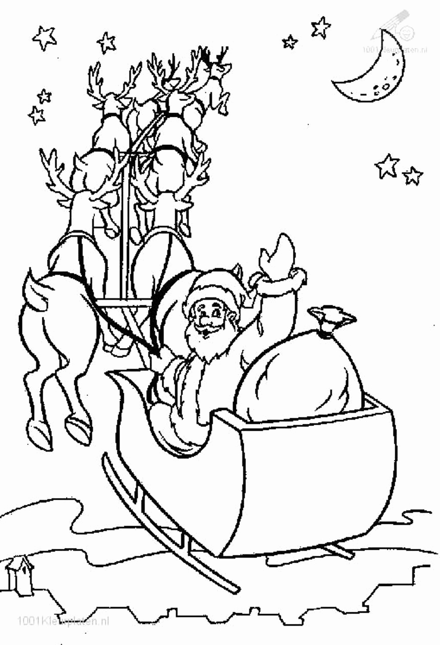 859x1260 Santa Claus In Sleigh Coloring Page Pics How To Draw Santa S