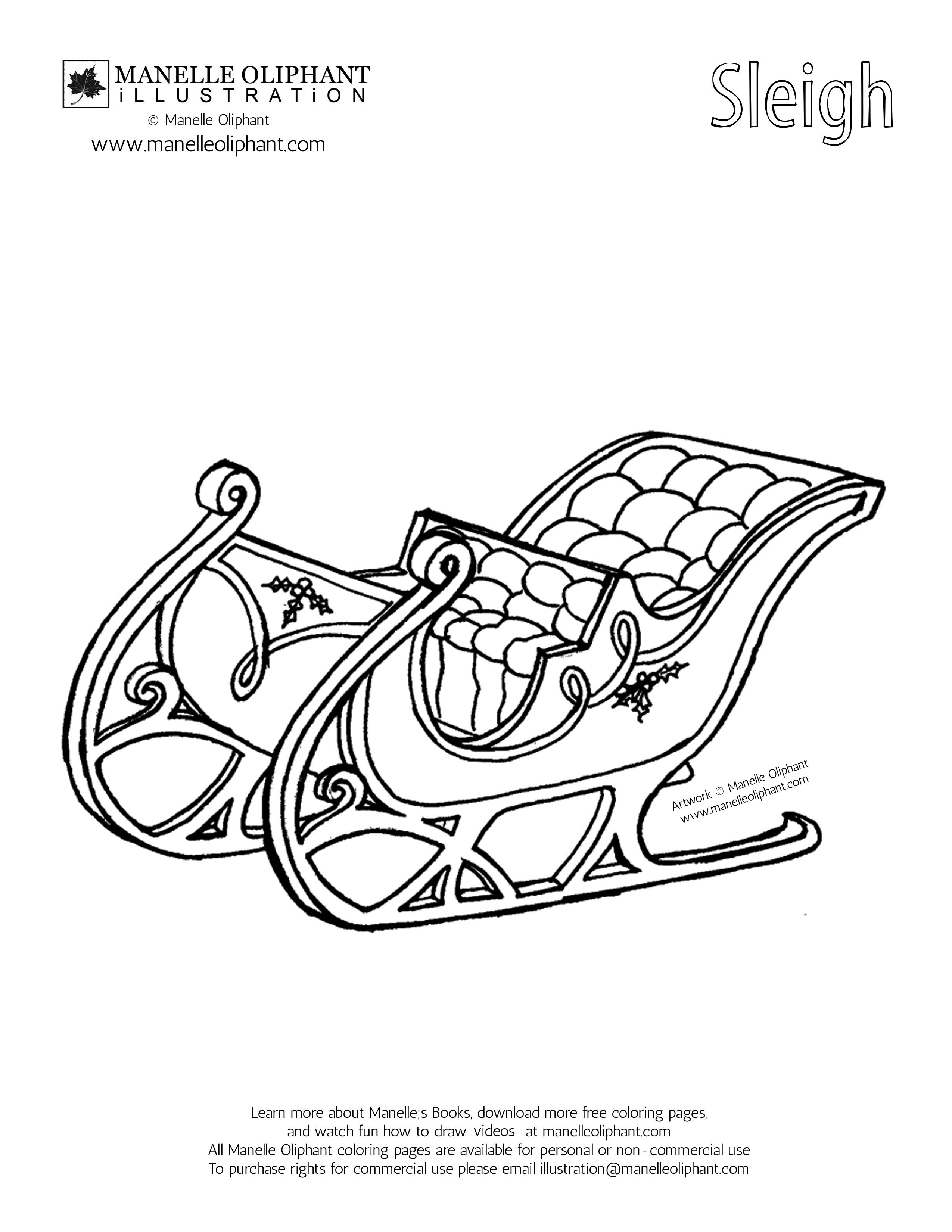 2550x3300 Sleigh Coloring Page, Santa Sleigh Coloring Page Bltidm