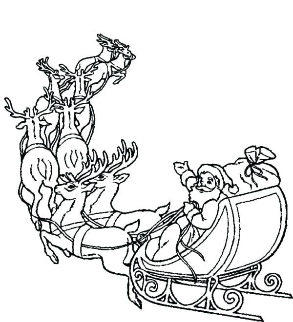 600x661 Santa Sleigh Coloring Page Santa Sleigh Coloring Pages Printable