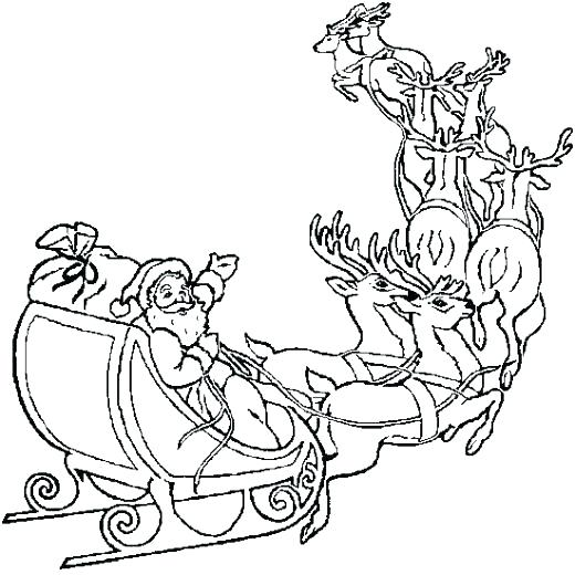 520x520 Santa Sleigh Coloring Page Sled Coloring Pages Sleigh Coloring