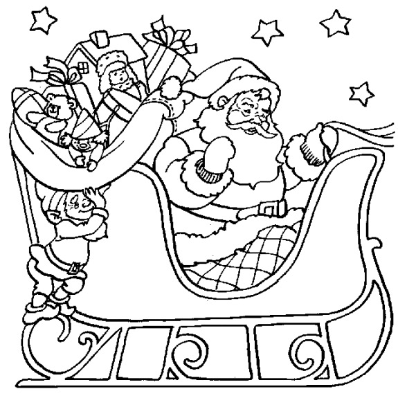 575x575 Santa Sleigh Coloring Page Coloring Book