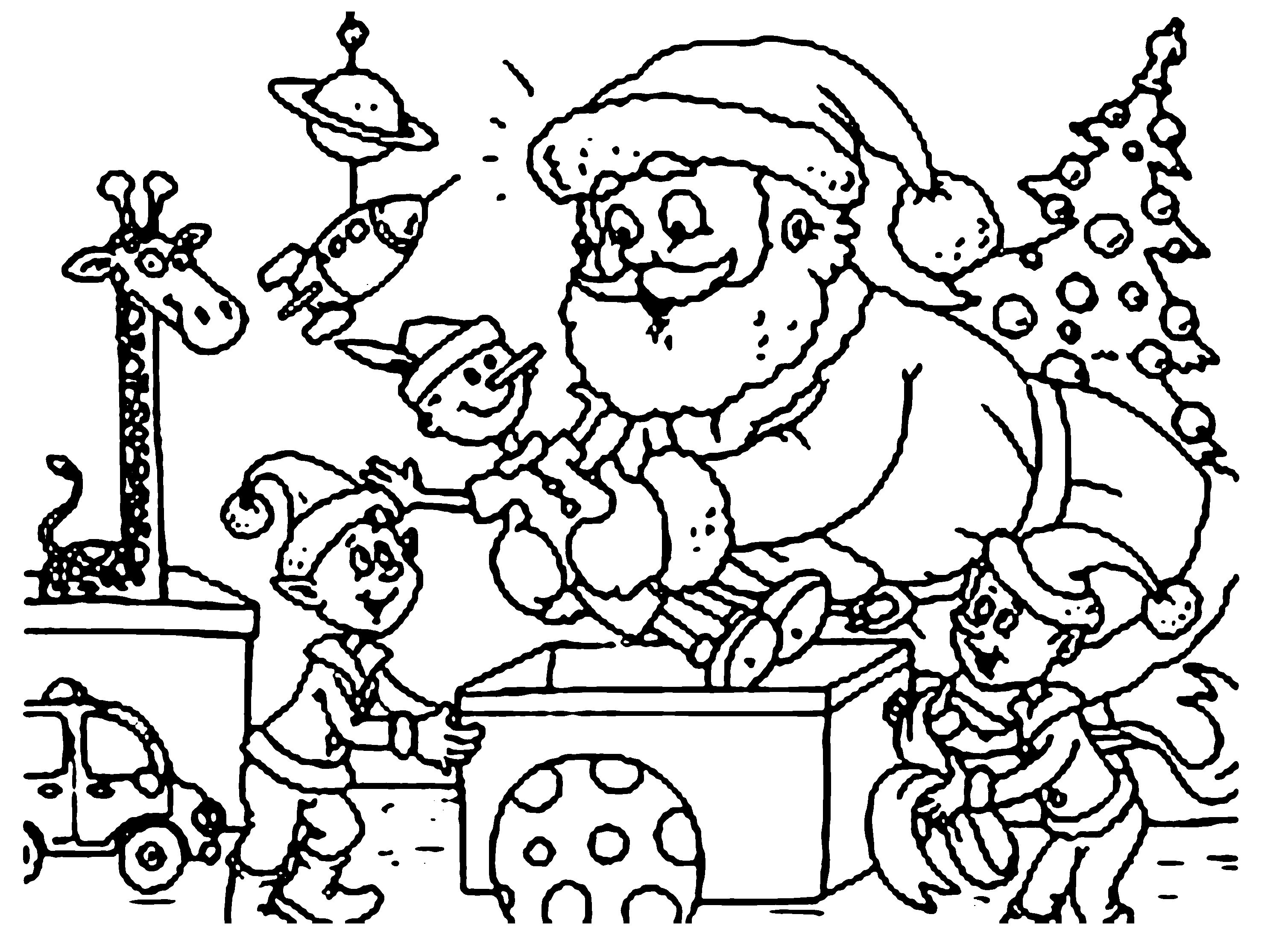 3016x2182 Santa And Sleigh Coloring Pages For Kids Gulfmik Free