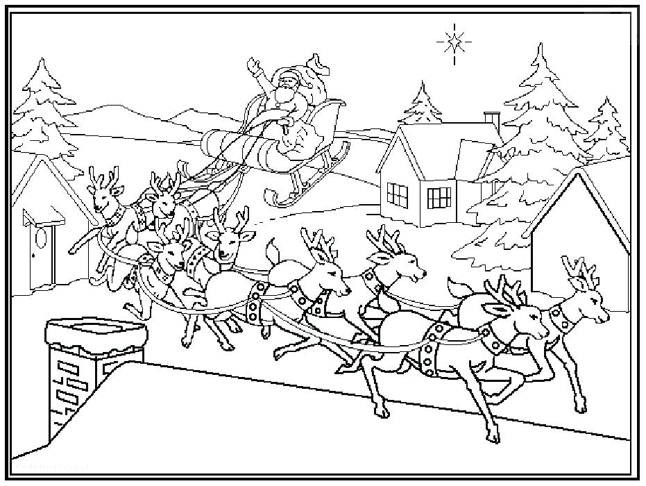 931x700 Santa And His Sleigh Coloring Pages
