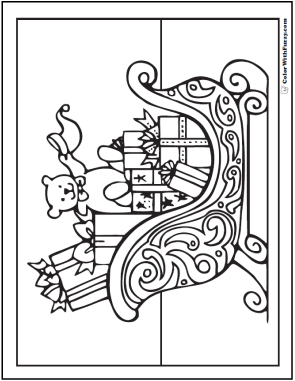590x762 Coloring Pages Christmas Santa Sleigh