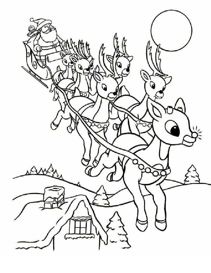 Santa Sleigh Coloring Pages Printable