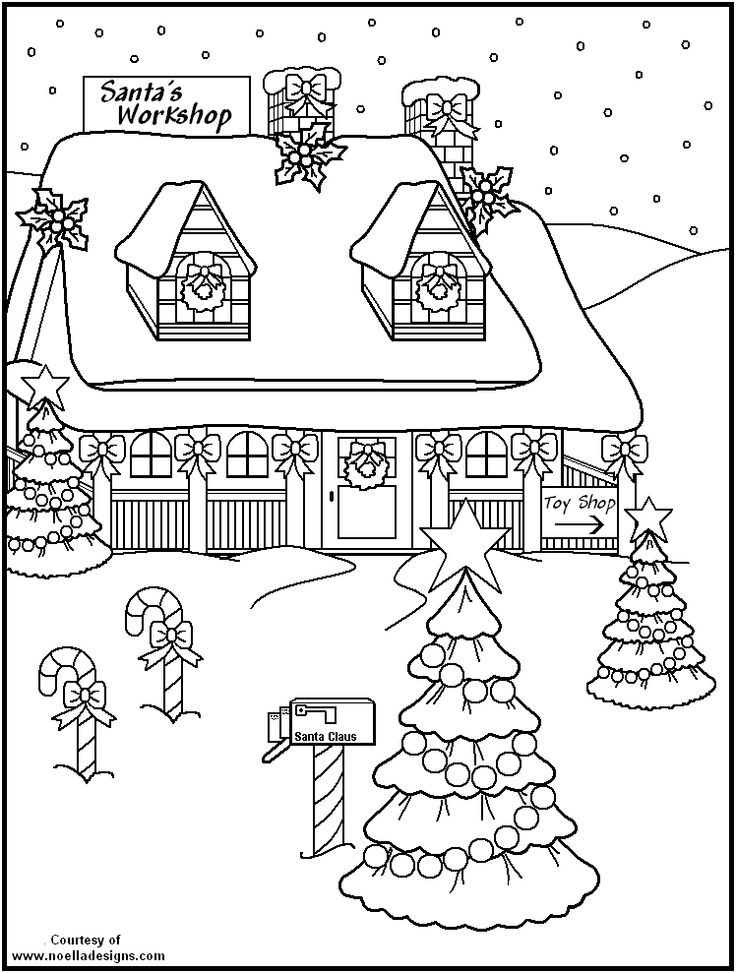 Coloring Page from Santas-Workshop.ws - Merry Christmas | 973x736