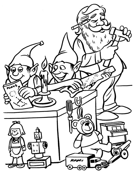 554x720 Printable Christmas Coloring Page Elves In Workshop