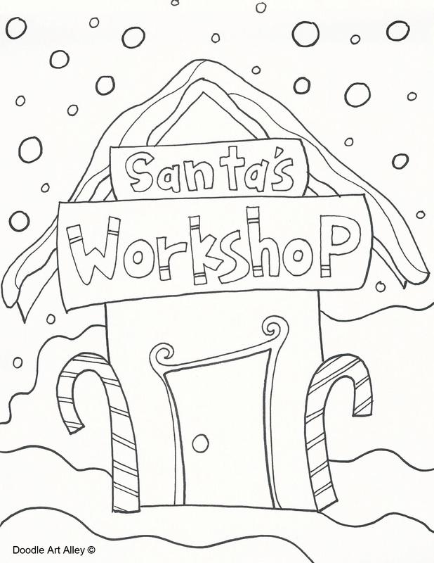 618x800 Santa's Workshop Drawing