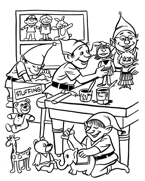 578x720 Christmas Workshop Coloring Sheets Printable Christmas Coloring